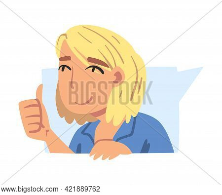 Cheerful Blonde Girl Showing Like Sign, Girl Making Thumb Up Gesture Showing Her Approval Cartoon Ve