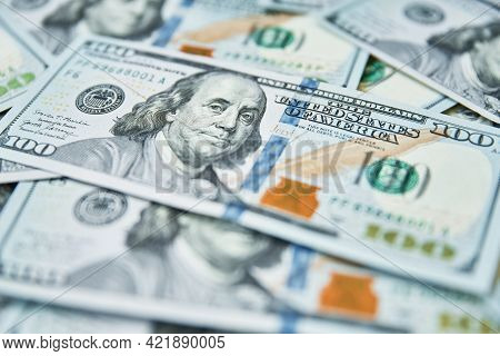 Dollar Bills Background. Pile Of American Money Cash. One Hundred Usd Dollars Banknotes. Financial C
