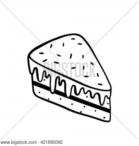 Slice Of Cake With Icing And Sprinkles Isolated On White Background. Vector Hand-drawn Illustration