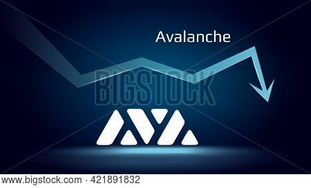 Avalanche Avax In Downtrend And Price Falls Down. Cryptocurrency Coin Symbol And Down Arrow. Uniswap