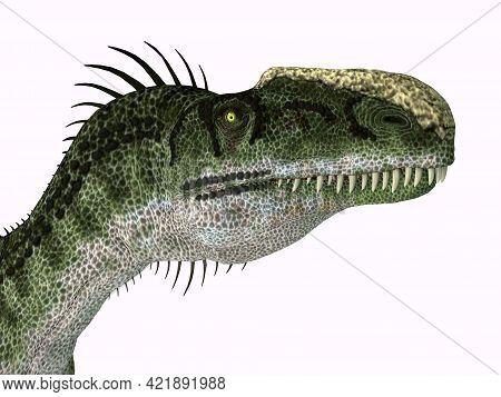 Monolophosaurus Dinosaur Head 3d Illustration - Monolophosaurus Was A Carnivorous Theropod Dinosaur