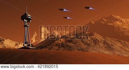 Colony On Mars 3d Illustration - Spacecraft From Earth Come In For A Landing Near A Colony Construct