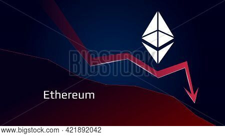 Ethereum Eth In Downtrend And Price Falls Down. Crypto Coin Symbol And Red Down Arrow. Uniswap Crush