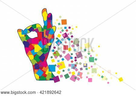 A Multicolored Collage Of Human Hand With The Ok, Ok Gesture. Abstract Image Of Different Squares Fo