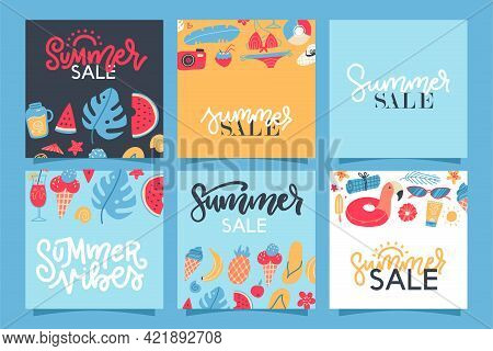 Summer Sale Banners Set. Hello Summer Elenents With Lettering For Card, Flyer, Banner, Poster, Socia