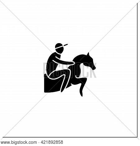 Horse Racing Glyph Icon. Equestrian Performance Sport. Jockeys Ride On Horse. Athletic Competition C