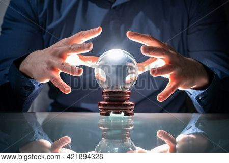 Predicting Future Using Crystal Ball. Fortune Teller And Psychic