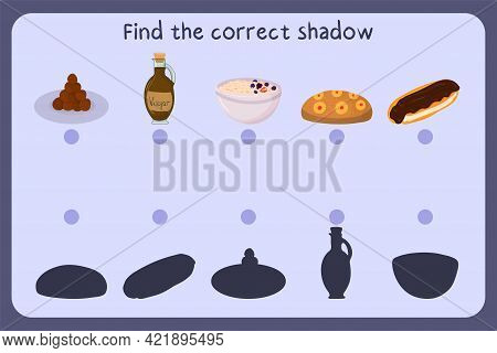 Matching Children Educational Game With Food - Meat Ball, Vinegar, Oat Meal, Cake, Eclair. Find The