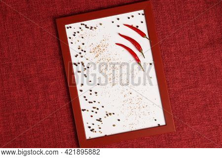 Photo Of A Red Chili Pepper In A Frame. For Cooking In The Photo. High Quality Photo