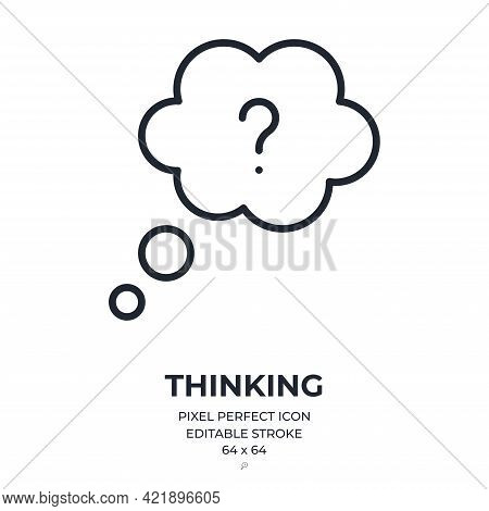 Thinking Concept Cloud Editable Stroke Outline Icon Isolated On White Background Flat Vector Illustr