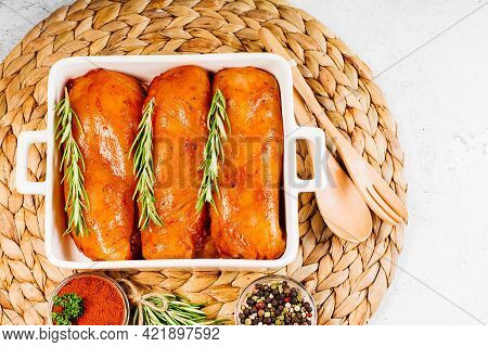 Marinated Chicken Breast With Spices And Rosemary.chicken Fillet In Red Marinade With Spices.top Vie