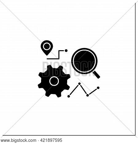 Tracking Process Glyph Icon.tracking Process All Production. Monitoring And Management Business Proj