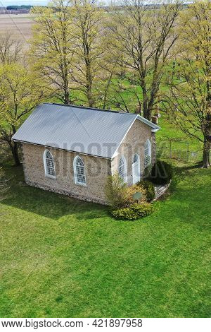 Paris, Ontario/canada- May 11: An Aerial Vertical Of The Historic Paris Plains Church On [may 11, 20