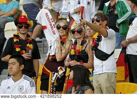 Lviv, Ukraine - June 17, 2012: German Football Supporters Show Their Support During The Uefa Euro 20