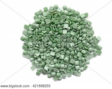 Set Of Soft Green Diamonds For Diamond Embroidery Isolated On White Background. Hobbies And Diy, Mat