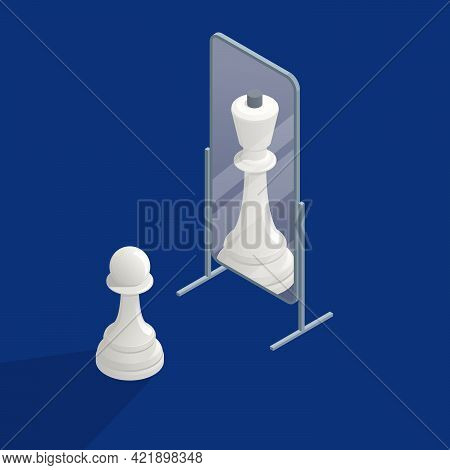 Isometric Megalomania Concept. The Pawn Sees Itself In The Mirror As A Queen. Vanity, Selfishness