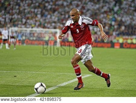 Lviv, Ukraine - June 17, 2012: Simon Poulsen Of Denmark Controls A Ball During The Uefa Euro 2012 Ga
