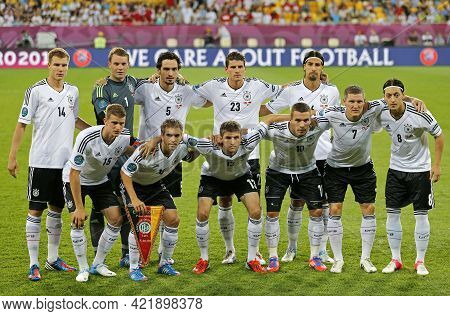 Lviv, Ukraine - June 17, 2012: German Players Pose For A Group Photo Before The Uefa Euro 2012 Game