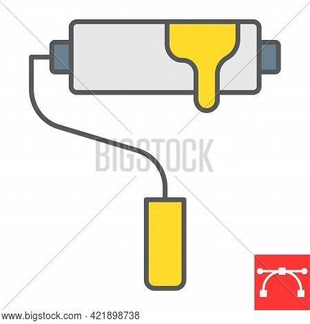 Paint Roller Color Line Icon, Tool And Repair, Paint Roller Vector Icon, Vector Graphics, Editable S