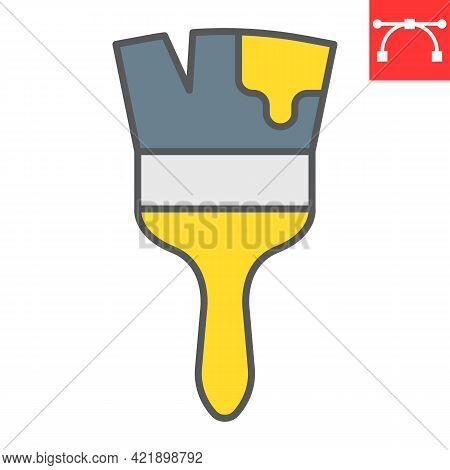 Paint Brush Color Line Icon, Tool And Repair, Paintbrush Vector Icon, Vector Graphics, Editable Stro