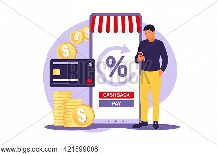 Cash Back Concept. Saving Money. Loyalty Program. Rebate Program. Selling Discount Concept. Cash Bac