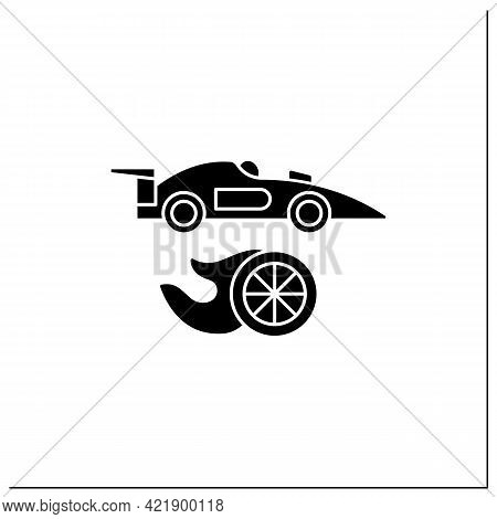 Auto Racing Glyph Icon. Motorsport. Automobiles Racing For Competition. Athletic Competition Concept