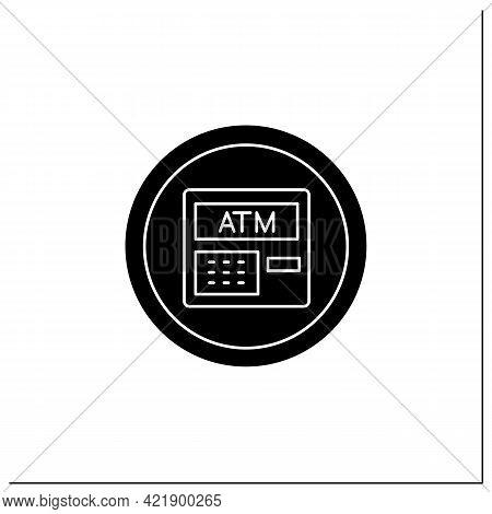 Atm Symbol Glyph Icon. Cashier, Atm Machine Sign. Cash Withdrawal. Public Place Navigation. Universa