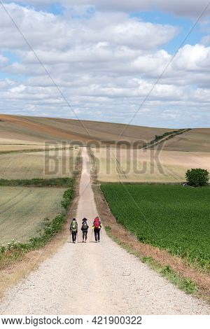 Three Pilgrims Walking On The Santiago Way, In Spain. Wearing Mountain Clothes, Backpacks, With The