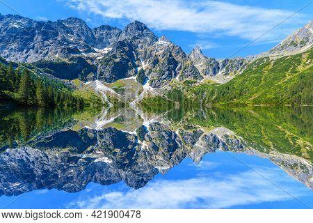 Reflection Of Mountain Peaks In Beautiful Green Water Morskie Oko Lake, Tatra Mountains, Poland