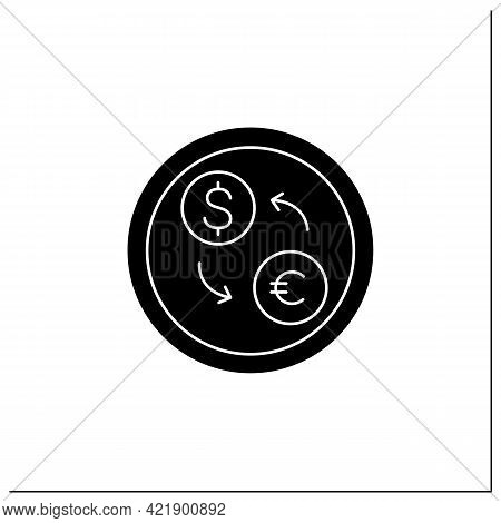 Currency Exchange Symbol Glyph Icon.cash Converter.exchanging Service, Bank Office Sign.public Place