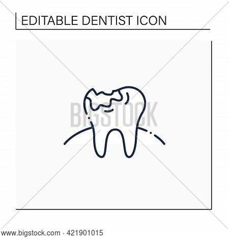 Tooth Decay Line Icon. Oral Surgeons Treatments In Dental Caries. Healthcare Procedures Helps Protec