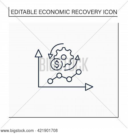 Economy Adaptation Line Icon. Positive Changes, New Development, Better Technology.changes In Busine