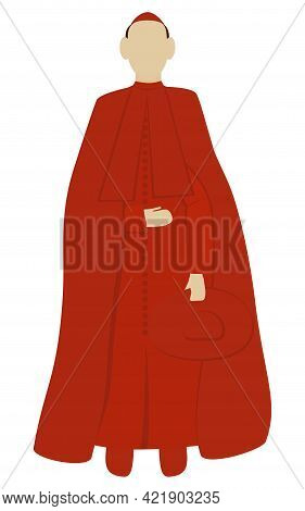 Cardinal Is Wearing Red Clothes And Holding Red Hat Isolated Vector Illustration On White Background