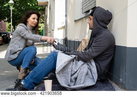 Coin Money Help For Beggar Person On Street