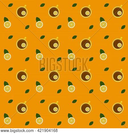 Pattern With The Image Of A Lemon Wedge And A Cup Of Tea And Lemon