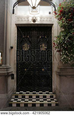 London, Uk, 2.09.2020 - Wrought Iron Door Detail, Elegant Classics Vintage House Lattice With Decora