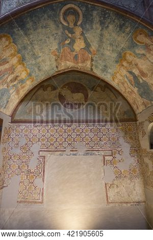 Lleida, Spain, May 1, 2020 - Medieval Frescoes In La Seu Vella Cathedral. Romanesque Style Of Archit