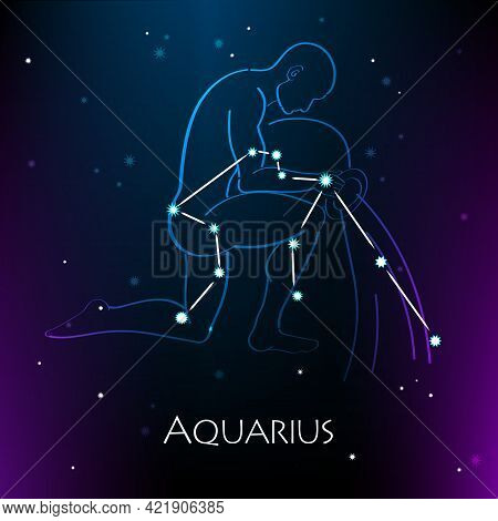 Aquarius Zodiac Sign And The Constellation Against A Dark Starry Sky. Vector Illustration On A Black