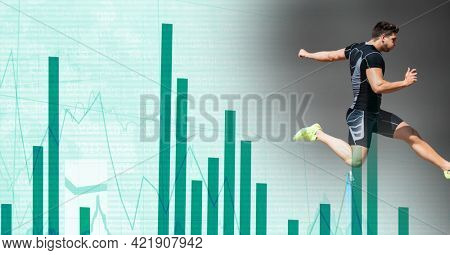 Composition of male athlete hurdle jumping with statistics and data processing. sports and competition concept digitally generated image.