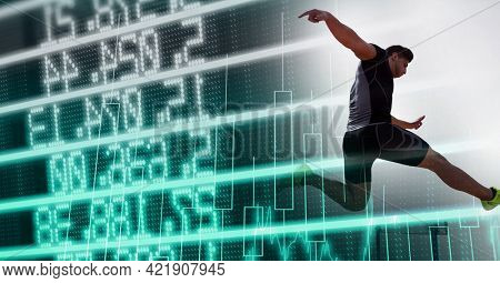 Composition of male athlete hurdle jumping with data processing. sports and competition concept digitally generated image.