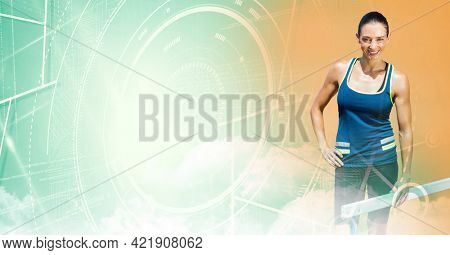 Composition of smiling female athlete by hurdle with scope scanning and data processing. sports and competition concept digitally generated image.