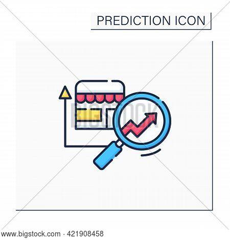 Retail Predictive Analytics Color Icon.shop Diagnostic. Careful, Detailed Research. Business Predict