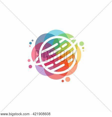 Colorful Planet Logo Vector, Globe Logo Designs Template, Design Concept, Logo, Logotype Element For