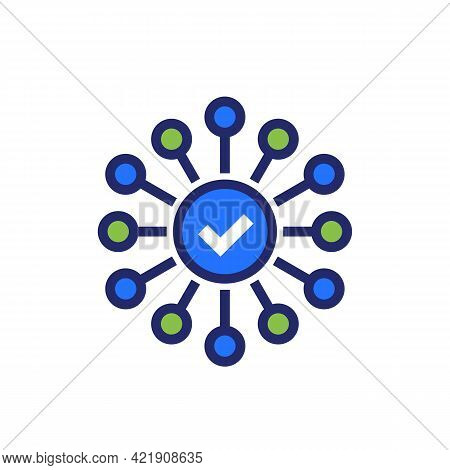 Connections Or Connect Vector Icon With Checkmark