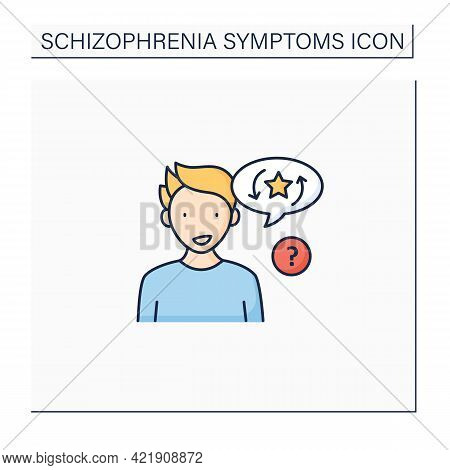 Perseveration Color Icon. Words And Sentence Repetition. Repeating Said Information Twice. Schizophr