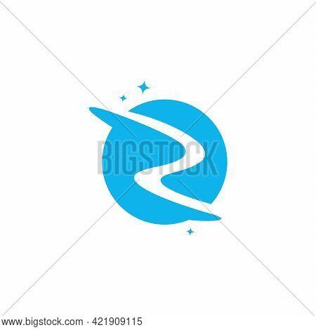 Initial Letter Z Swoosh Orbit Logo Designs Vector, Z Initial Logo For Kids Logo Template In Blue Bac