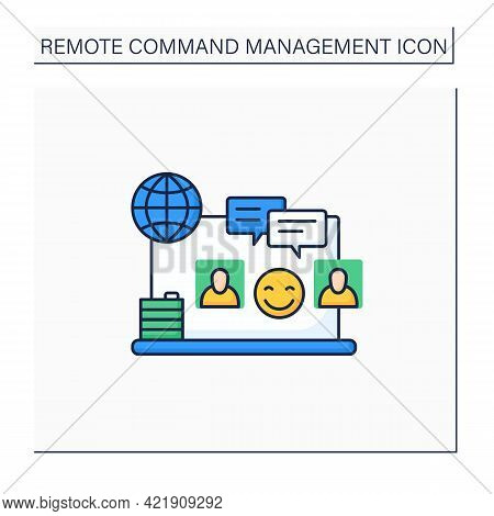 Informal Communication Color Icon. Non-work Topics Conversations. Communicate Remotely. Remote Manag