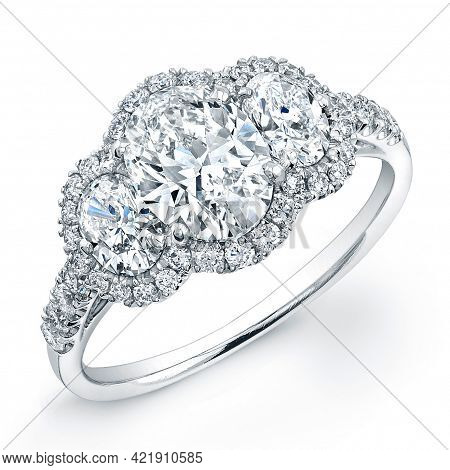 Gold, Silver And Diamond Wedding Rings And Jewelry On A White Background Wedding Rings. Realistic Je