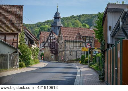 Germany - August 2015: Germany - August 2015: Autobahn In A Village Without Cars. Architectural Of G