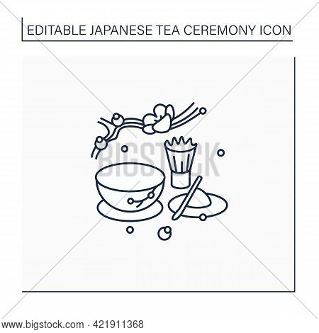 Matcha Line Icon. Unique Tea Ceremony. Matcha Tea Powder Near Teacup. Japanese Ethnic And National R